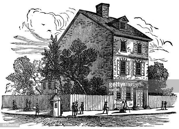 ilustrações, clipart, desenhos animados e ícones de casa em que a declaração de independência foi escrito - thomas jefferson