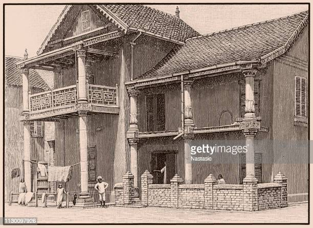 house of a native in antananarivo, madagascar - antananarivo stock illustrations, clip art, cartoons, & icons