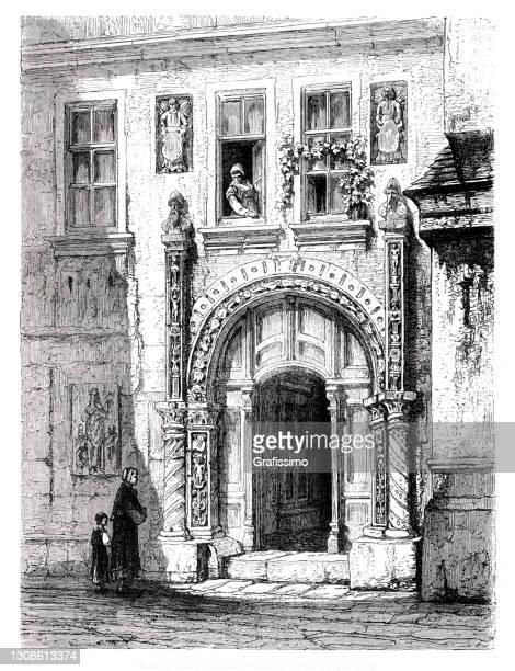 アイゼナハドイツのマルティン・ルター家 1872年 - 名作 発祥の地点のイラスト素材/クリップアート素材/マンガ素材/アイコン素材