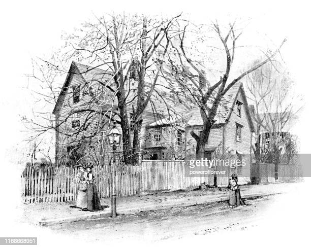 house of seven gables in salem, massachusetts, united states - 19th century - colonial style stock illustrations
