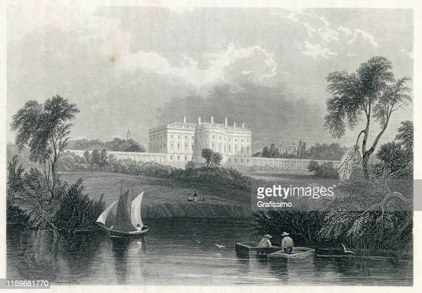house of the president seen from the river washington d.c. 1840 - 1840 1849 stock illustrations