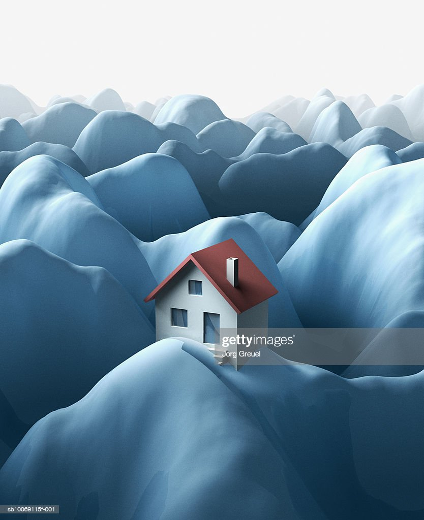 House on snow covered mountain (digitally generated) : Stockillustraties