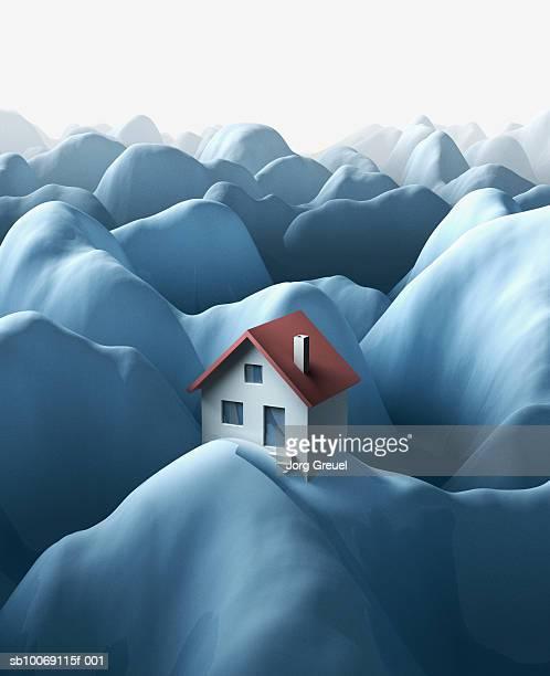 house on snow covered mountain (digitally generated) - 人里離れた点のイラスト素材/クリップアート素材/マンガ素材/アイコン素材