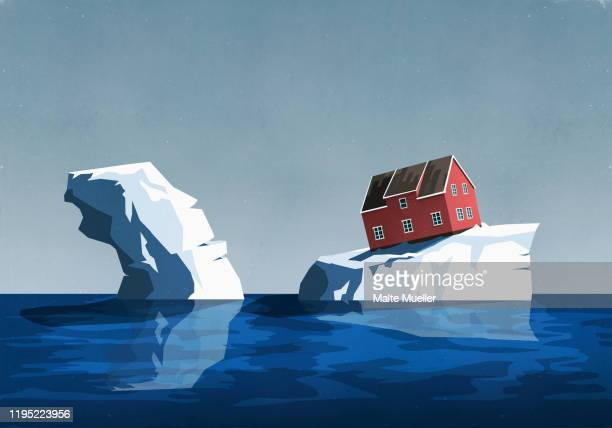 house perched precariously on iceberg - touching stock illustrations