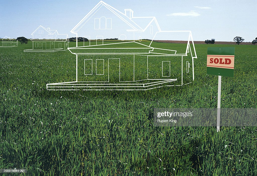 House plans on lawn by 'sold' sign (digital composite) : Stock Illustration