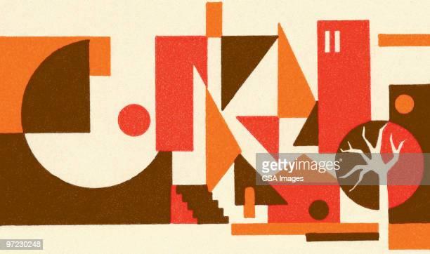 house scene abstraction - geometric stock illustrations