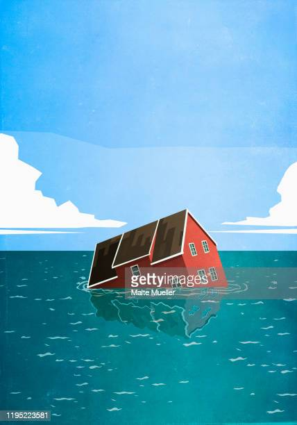 house sinking in sea - great recession stock illustrations