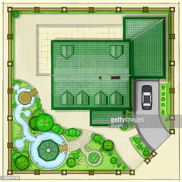 House Top plan with beautiful garden