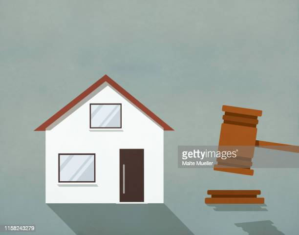 house up for auction next to gavel - next stock illustrations
