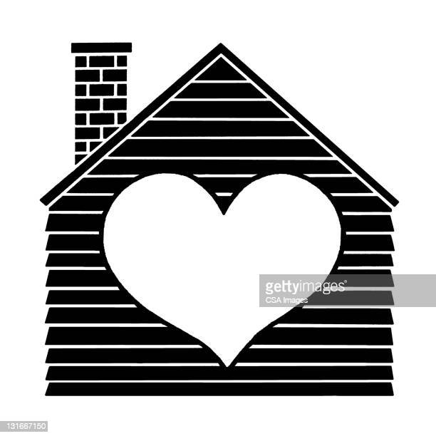 house with heart - residential building stock illustrations