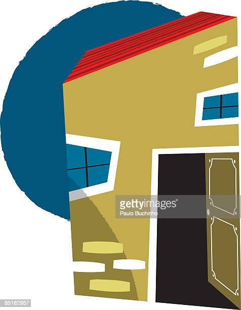 ilustrações de stock, clip art, desenhos animados e ícones de a house with its front door left open - buchinho