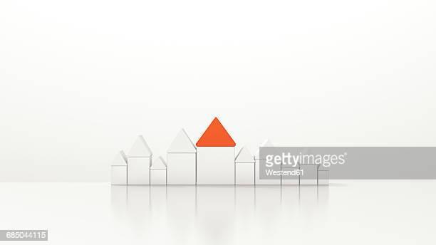 ilustrações, clipart, desenhos animados e ícones de house with red roof amidst white houses, 3d rendering - sobressaindo nas multidões
