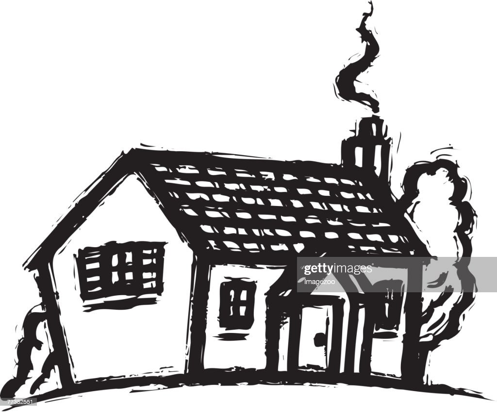 Line Art House : House with smoking chimney bw vector art getty images