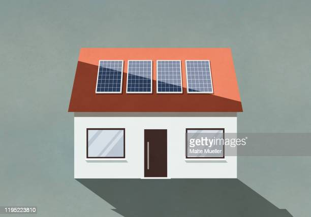 house with solar panels on roof - residential building stock illustrations
