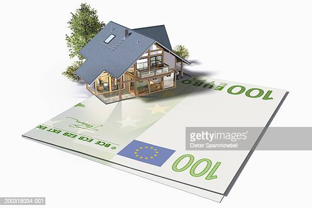 house with us one hundred euro note drive (digital) - european union euro note stock illustrations, clip art, cartoons, & icons