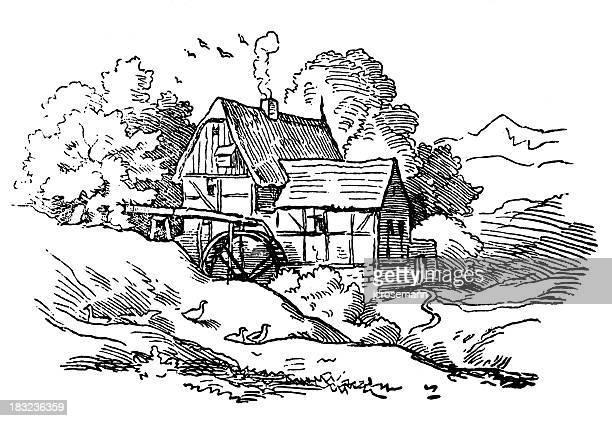 illustrazioni stock, clip art, cartoni animati e icone di tendenza di casa con mulino a acqua - mulino ad acqua