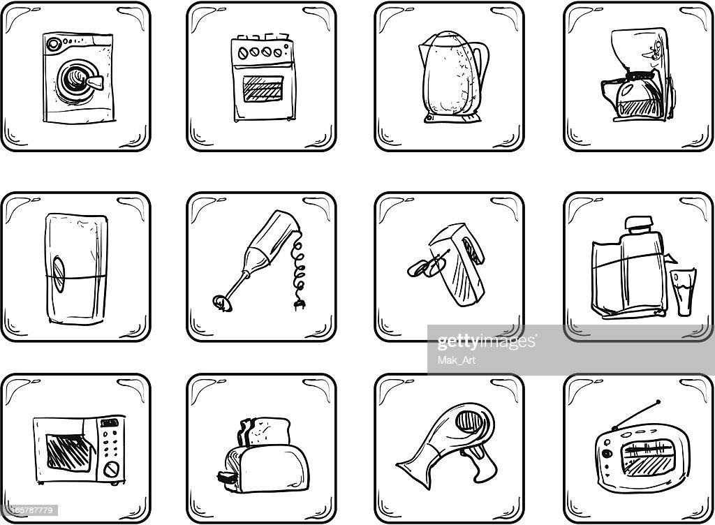 Household equipment icons.