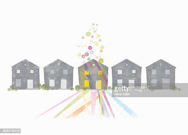houses against white background - in a row stock illustrations
