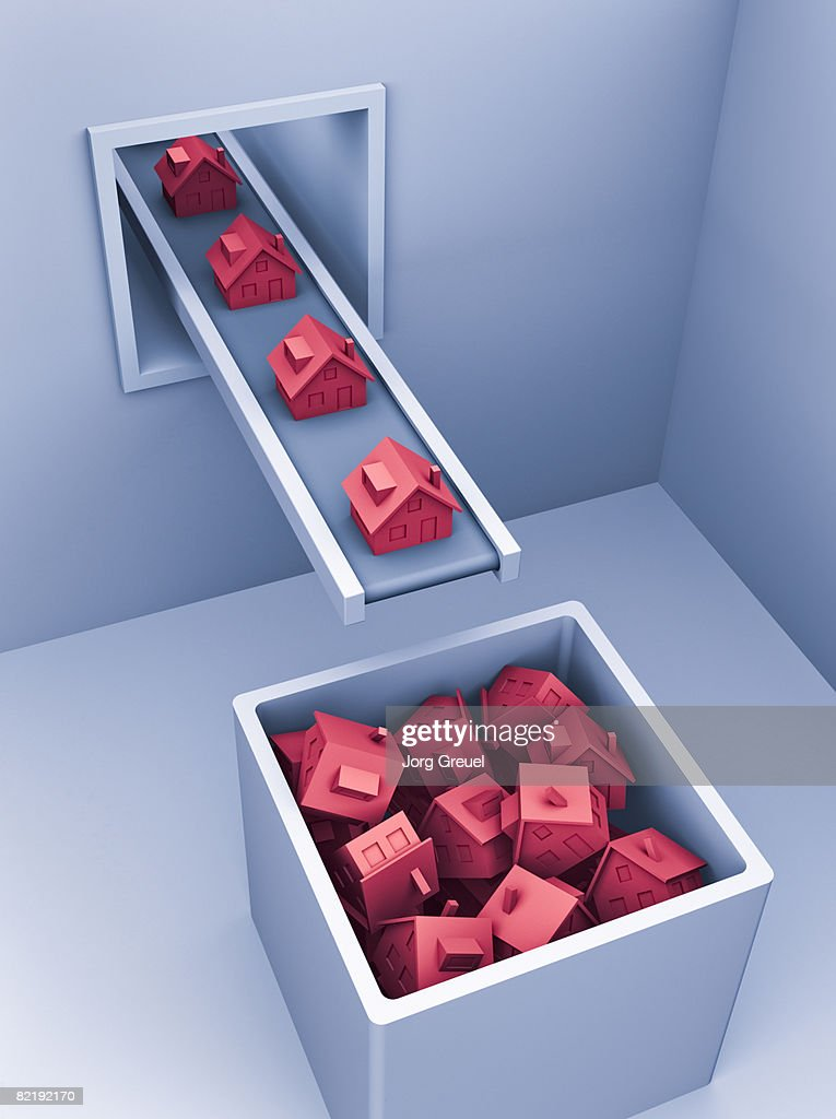 Houses coming out of production line : stock illustration