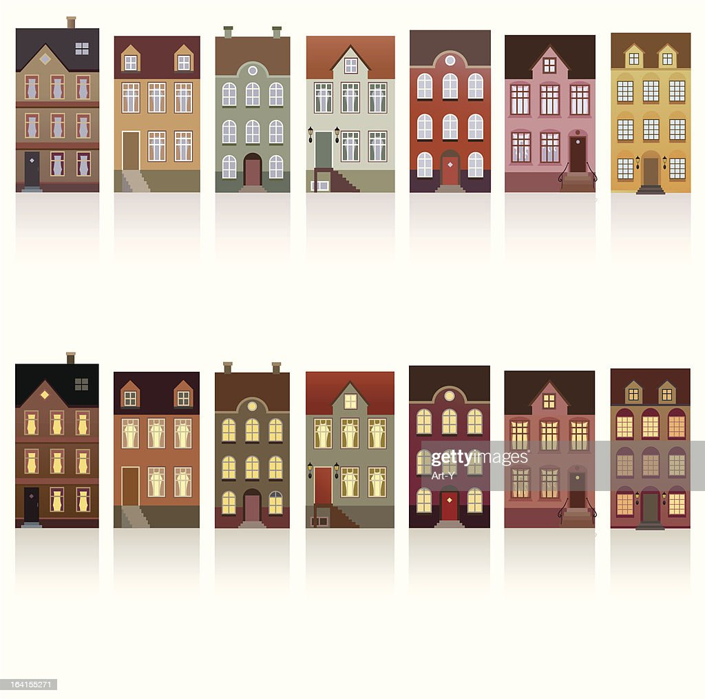Houses - day and night : stock illustration