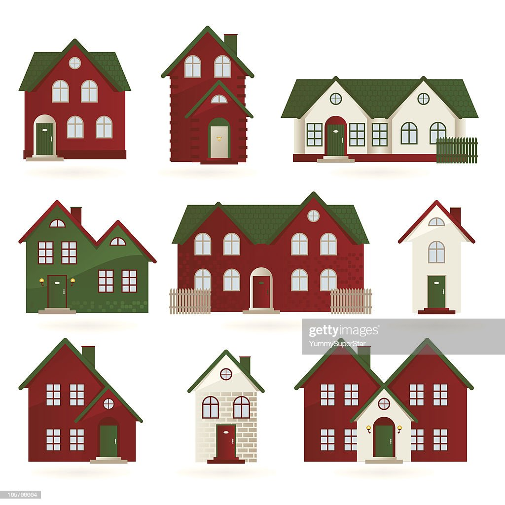 Houses In Different Architectural Styles Stock Vector Getty Images