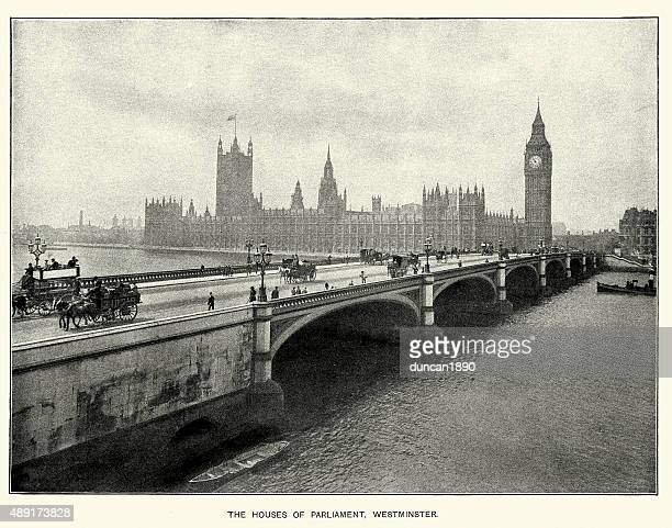 Houses of Parliament and Westminster Bridge, London, 1897