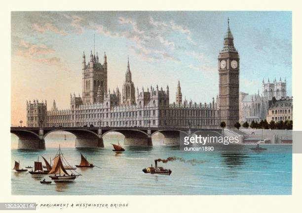 国会議事堂とウェストミンスター橋、ビクトリア朝のロンドンのランドマーク、19世紀 - セントラル・ロンドン点のイラスト素材/クリップアート素材/マンガ素材/アイコン素材