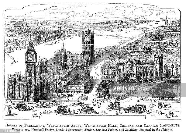 houses of parliament, westminster abbey and millbank penitentiary (1871 engraving) - westminster abbey stock illustrations