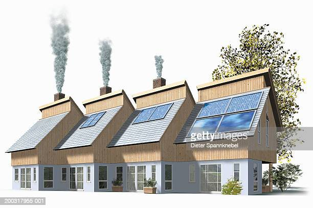 houses using varying amounts of solar power (digital) - model to scale stock illustrations, clip art, cartoons, & icons