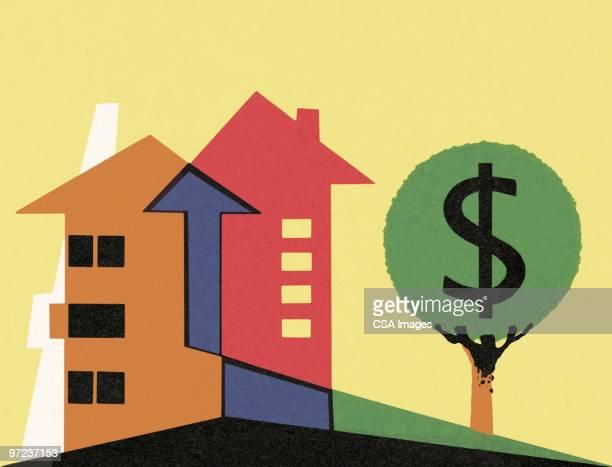 houses with money tree - finanzen stock illustrations