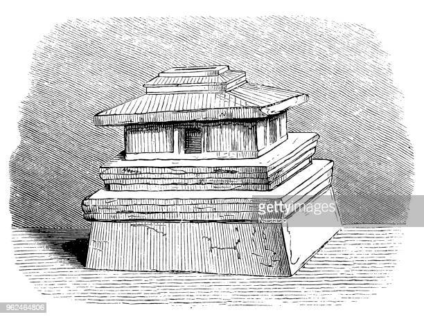 house-shaped urn from chiusi etruscan cemetery - etruscan stock illustrations