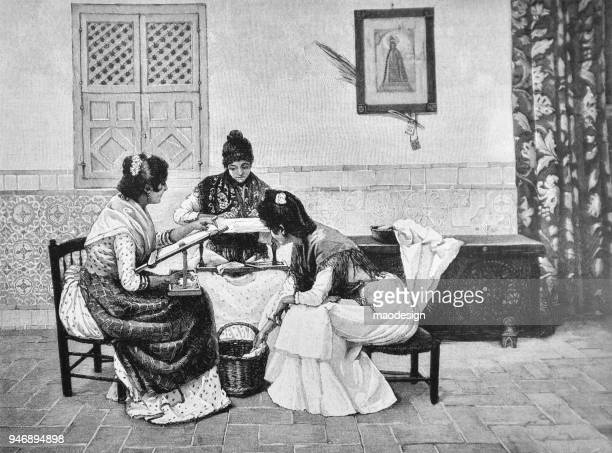 Housewives in traditional cloths stitched patterns on tablecloths _ 1895