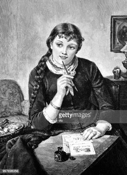 手紙を開始する方法: テーブルで若い女の子。 - 1890~1899年点のイラスト素材/クリップアート素材/マンガ素材/アイコン素材