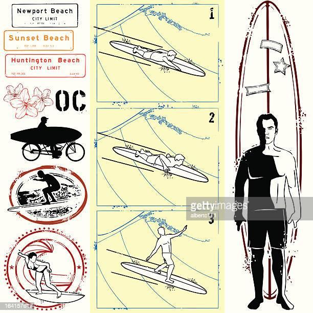 how to ride the wild surf - huntington beach california stock illustrations, clip art, cartoons, & icons
