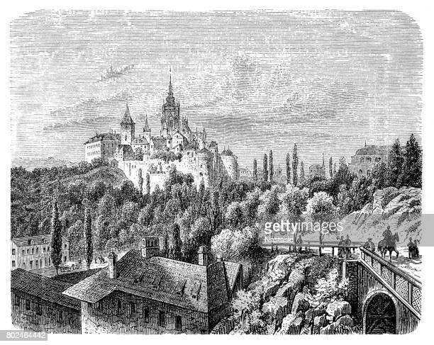 hradcany ,imperial palace of prague - prague stock illustrations, clip art, cartoons, & icons