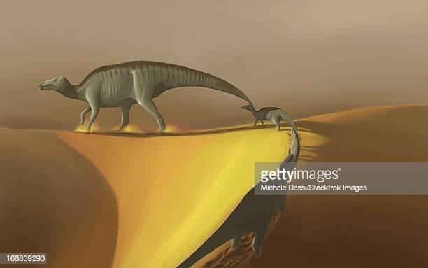 ilustraciones, imágenes clip art, dibujos animados e iconos de stock de huaxiaosaurus aigahtens dinosaurs migrate across a barren desert. - paleozoología