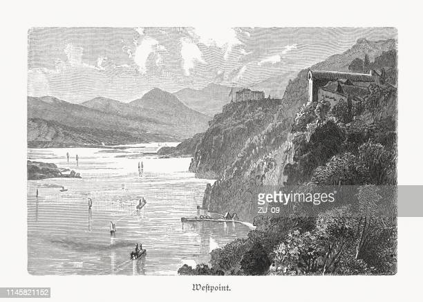 hudson river near west point, new york, usa, woodcut, 1897 - west point military academy stock illustrations