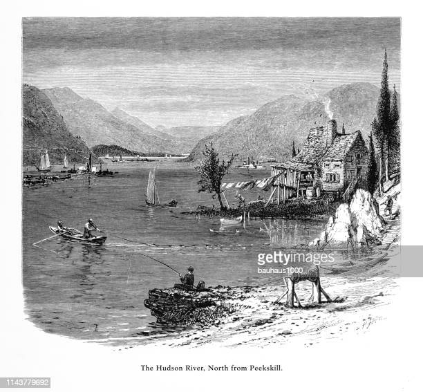 Hudson River North from Peekskill, New York, United States, American Victorian Engraving, 1872