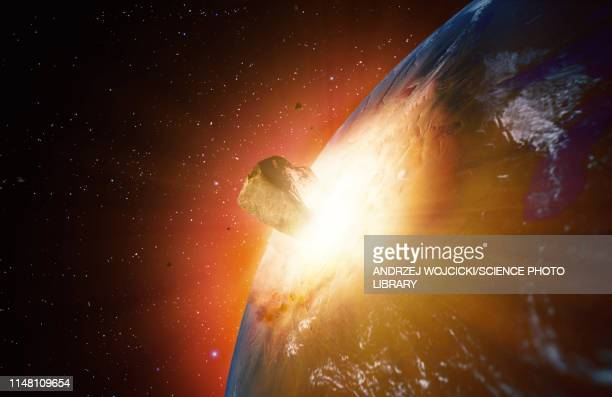 huge asteroid impacting earth, illustration - space and astronomy stock illustrations