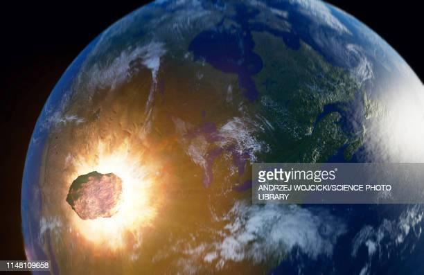 illustrations, cliparts, dessins animés et icônes de huge asteroid impacting earth, illustration - catastrophe aérienne