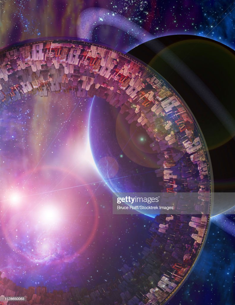Huge City Multi-Generational City Ship Encounters New Planet : stock illustration