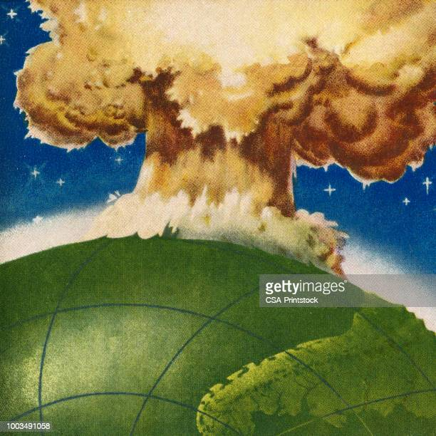 huge explosion on earth - radioactive contamination stock illustrations