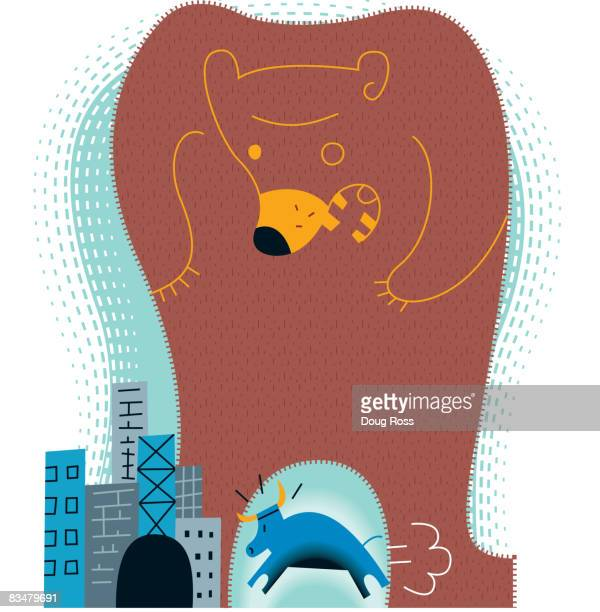 A huge roaring bear towering over a tiny bull,  signifying a bear market