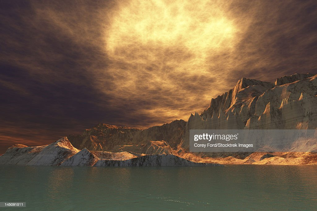 A huge sun shines through dense brown clouds on this beautiful seascape. : stock illustration