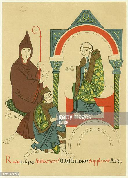 hugh of cluny and matilda of tuscany, lithograph, published 1880 - holy roman emperor stock illustrations