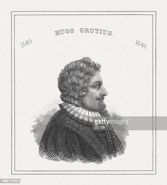 グロティウス (1583-1645)、オランダの哲学者、鋼鉄彫刻は 1843 年に公開 - 国際法点のイラスト素材/クリップアート素材/マンガ素材/アイコン素材