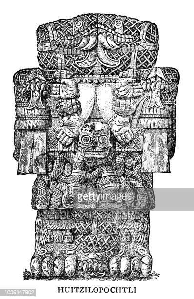 ilustrações de stock, clip art, desenhos animados e ícones de huitzilopochtli - astecas