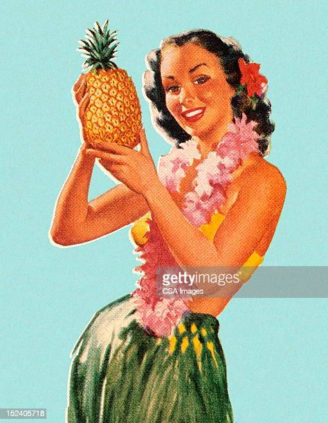 hula girl holding pineapple - old fashioned stock illustrations