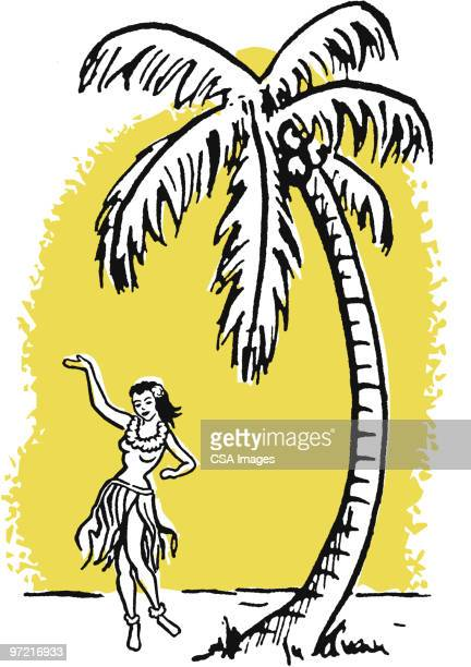 hula girl - pacific islands stock illustrations