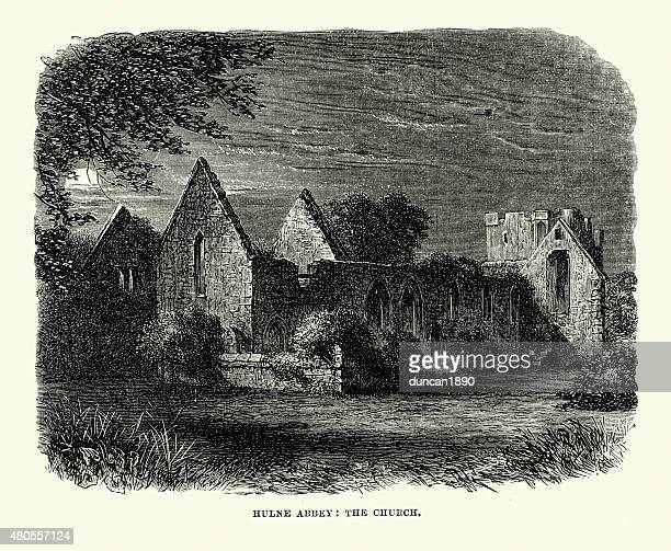hulne priory - the church - northeastern england stock illustrations, clip art, cartoons, & icons